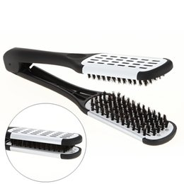 V Clamps Australia - Pro Hairdressing Straightener Ceramic Hair Straightening Double Brushes V Shape Comb Clamp Not Hurt Styling Tools