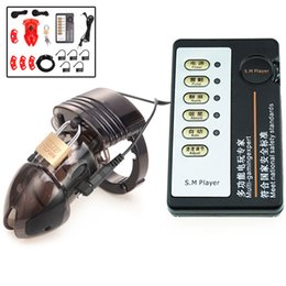 $enCountryForm.capitalKeyWord Australia - Sex Products Electric Shock Cage Lock Penis Cock Vibrators Ring Medical Male Chastity Device Erotic Toys For Men Gay C19032801