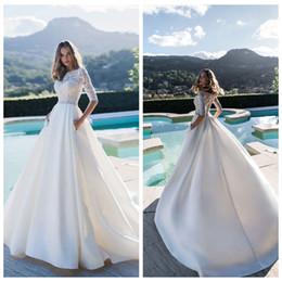 $enCountryForm.capitalKeyWord Australia - Romantic White Lace A-Line Wedding Dress Custom Made Jewel Collar Half-Sleeve Bridal Gown 2019 Luxury Satin Bride Dress