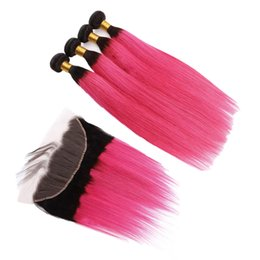 Brazilian Hair Frontal Piece UK - Colored 1B Pink Straight Hair Wefts With 4x4 Lace Closure Ombre Color Straight Hair Weaves Extensions With Frontal Pieces 13x4