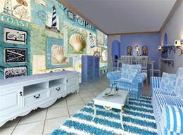 $enCountryForm.capitalKeyWord Australia - 3d Wallpaper Living Room Small Fresh Mediterranean Wind Ocean Shell Lighthouse Interior Decoration Wall paper