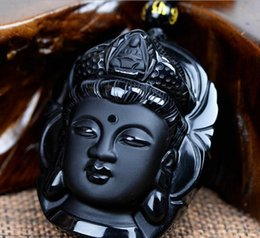 $enCountryForm.capitalKeyWord Australia - Natural Obsidian Guanyin Bodhisattva Buddha Men and Women Pendant Pendant Jade Pendant