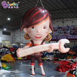 Discount inflatable girls toys - customized 3.5meters tall big inflatable girl with wrench   12 feet game inflatable character balloons -toys