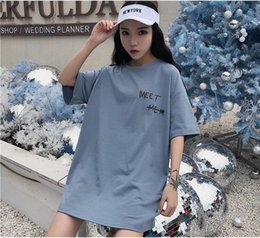 trade uniforms NZ - Short-sleeved T-shirt women's original dormitory uniform with long loose letters printed in the new Korean version of summer foreign trade i