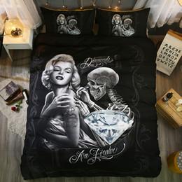 $enCountryForm.capitalKeyWord Australia - Thumbedding Dropship Love Image Skull Bedding Set King Size 100% Microfiber Innovative Unique Designed Twin Full Queen King Duvet Cover Set