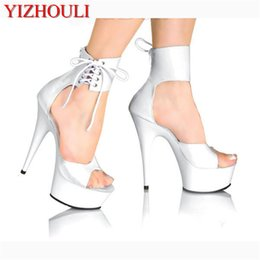 $enCountryForm.capitalKeyWord Australia - Elegant Ankle Strap 15CM High Heel Slippers Platforms Pole Dance shoes white 6 inch women fashion shoes sexy clubbing high heels