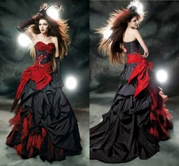 $enCountryForm.capitalKeyWord NZ - Gothic Wedding Dresses 2019 Vintage Black And Red Modest Sweetheart Ruffles Lace Up Back Corset Top Ball Gown Bridal Dresses Wedding Gowns
