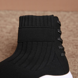 punk sneakers women Canada - Fashion Winter Socks Boots for Women Black Shoes Mesh Casual Slip-On Sport Shoes Runing Breathable Punk Boots woman Sneakers