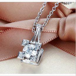 Paris Tower Pendant Australia - Paris Eiffel Tower White Round Sapphire Stone Pendant 925 Silver Necklace for Women