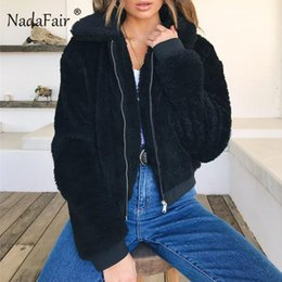 White Short Sleeve Faux Fur NZ - Nadafair Fluffy Teddy Jacket Coat 3xl Plus Size Autumn Winter Long Sleeve Faux Fur Coat Women Turn Down Short Jacket Female J190403