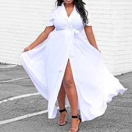 $enCountryForm.capitalKeyWord Australia - Summer Casual African White Sexy Club Plus Size Women Long Dresses High Waist Plain Lace Up Split Female Fashion Chic Maxi Dress