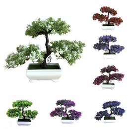 wholesale bonsai trees pots Australia - New Ganoderma Tree Lotus Pine Tree Simulation Plant Flower Bonsai Set Small Potted Green Plant Home Table Top Decoration