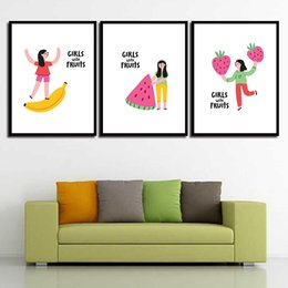 Art Canvas Prints Australia - Nordic Cuadros Posters Cartoon Watermelon Banana Minimalism Decor HD Prints Wall Art Canvas Painting Pictures For Living Room
