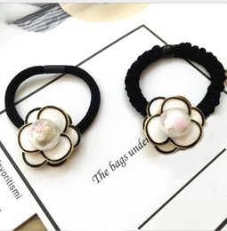 $enCountryForm.capitalKeyWord Australia - 404 Large camellia pearl hair ring handmade original hair decoration with thick leather tendons and high elasticity 3pcs lot