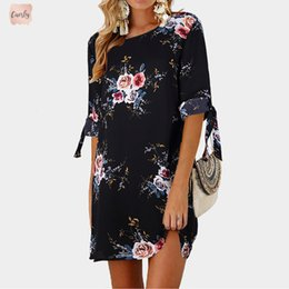 vintage designer cocktail dresses sleeves NZ - Print Cool Summer Womens Dress Floral Print Bowknot Cocktail Sleeves Mini Dress Casual Party Dresses Dship Designer Clothes