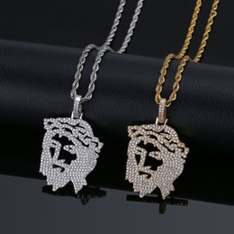 Gold Jesus Head Pendant Australia - Gold Plated Hiphop Christ Jesus Pendant Necklace Iced Cubic Zirconia Hollow Solid Head Portrait Charms Punker Hipster Jewelry for Men