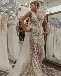 Dress Tulle Tail NZ - Luxury Mermaid Wedding Dresses Sexy Deep Neck Bridal Gowns 2019 With Tulle Wrap Dubai Sweep Tail Vestidos De Novia