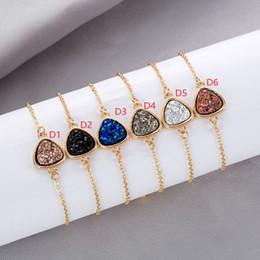 $enCountryForm.capitalKeyWord Australia - MICHAEL KENDRA Drusy Druzy Bracelet Triangle Resin Druse Adjustable Chain Bracelet Friendship Wristband Lady Jewelry Gift