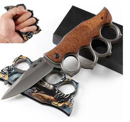 Опт Складной Мути-функции Складной нож Кастет форма открытый кемпинг самообороны инструмент нож из нержавеющей стали нож NF005
