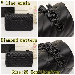 Wholesale High quality leather flap bag black hardware flap bag diamond pattern bag v line pattern chain fashion bag CF sheep leather bag
