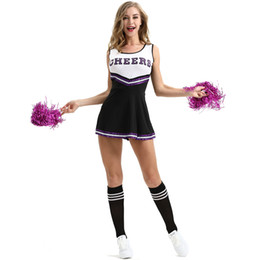 Sexy Girls Club Cheerleading Costumes Nero Student Basket Football Game Dress Lala Flower Lingerie Uniformi Mostra nuovi vestiti alla moda