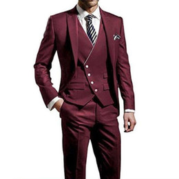 Discount gold tuxedo for groom Top Selling Burgundy Groom Wear Tuxedos 3 Piece Wedding Suits Groomsmen Best Man Formal Business Suit For Men Jacket+Pan