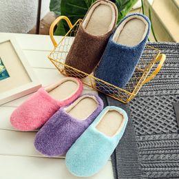 $enCountryForm.capitalKeyWord Australia - Cute Plush Indoor Women Slipper Warm Cotton Shoes Soft Sole Flat Slippers Wooden Floor Pantufa Home Shoes Solid Slipper ABT1095