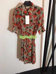 $enCountryForm.capitalKeyWord Australia - women girls 100% silk shirt dress interlocking letter strawberry lapel neck short sleeves belt a-line mini skirts high-end luxury dresses