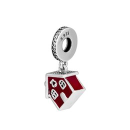0ea20382b New Authentic 925 Sterling Silver Bead Cosy Christmas House Hanging Charm  Fit Original Pandora Bracelet For Women Jewelry