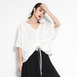 $enCountryForm.capitalKeyWord Australia - New 2019 Korean Style Solid White Women Stylish Summer Top V Neck Batwings Sleeves Female Oversized T-shirt Casual Tshirts F301