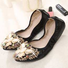 ccd53aad40a2 34~45 Womens Lady Ballet Slip On Flats Loafers Crystal Butterfly Beads Ballet  Shoes Rhinestone Soft Comfortable Flat Roll Shoes