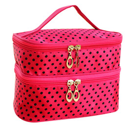 $enCountryForm.capitalKeyWord Australia - Double Travel Toiletry Lady Cosmetic Bag Dot Makeup Case Organizer Zipper Holder Handbag Bolsa de maquillaje Trousse