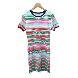 $enCountryForm.capitalKeyWord NZ - High-end custom European and American women's color stripes English letters Short-sleeved knit dress Slim thin women
