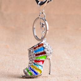 $enCountryForm.capitalKeyWord Australia - Women Crystal High Heeled Rhinestone Keychain Purse Pendant Bags Cars Shoe Ring Holder Chains Key Rings For Women Gifts.
