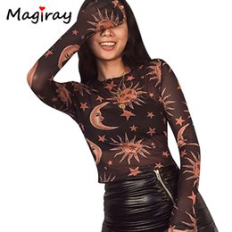 Black See Through Tee Australia - Magiray Long Sleeve Novelty T Shirt Women See Through Star Print Sexy Club 2019 Fashion Female Crop Top Tee Ladies Tshirt C496