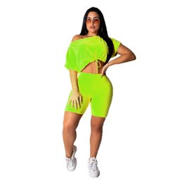 $enCountryForm.capitalKeyWord UK - 2019 new women letter sequins splicing Shoulder short sleeve tee top above knee pants suit two piece set sports tracksuit