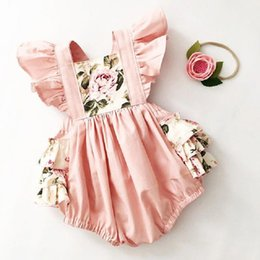 Wholesale Summer Newborn Baby Girls Clothes Floral Print Round Neck Sleeveless Ruffles Bodysuit Headband Kids Toddler Girls Outfits