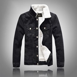 winter denim jackets for men UK - Fashon Mens Denim Jacket Slim Fit Black Fleeced Turn Down Neck Jean Jackets Large Size M to 5XL Winter Coats for Male