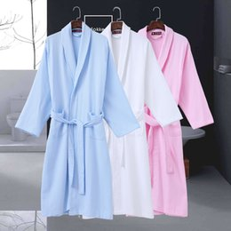 139483f597 Cotton Bathrobe Women Waffle Spring Autumn Long Soft Robe Female Robes Thin  String Bathrobes Loose Home Bathrobe Kimono Robe