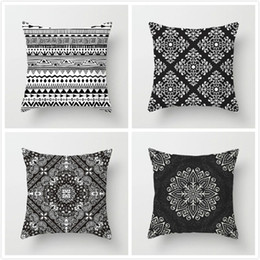 knit pillow patterns Australia - Fuwatacchi Floral Printed Pillow Case Black and White Pattern Cushion Cover for Home Sofa Seat Case Car Pillowcase Decorative