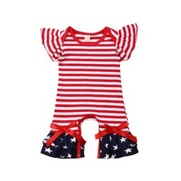 Infant whIte tIe online shopping - Infant Onesies Baby Onesies Bow Tie Fly Sleeve Round Neck Star Striped Rompers American Flag Independence National Day USA th July
