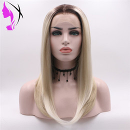12 14 16 inch wig Australia - Synthetic wig For Black White Women Short bob Straight 14 Inch Ombre Blonde Wig Cosplay Hair Synthetic Lace Front Wig