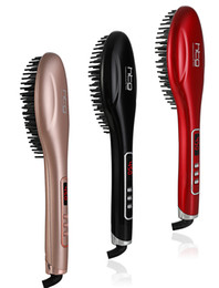 Red Straightening Irons NZ - HTG 110-220V Ions Comb Ionic Steam Iron Hair Straightener Straightening Iron Brush Perfect Styler LED Display HT101
