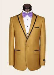 Tuxedo Gold Burgundy Australia - 2019 Tuxedos Gold Best Man Suit Peak Lapel Wedding Groomsman Men's Suits Bridegroom (Jacket+Pants+ Bow Tie ) DH6310
