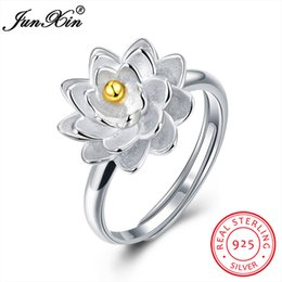 $enCountryForm.capitalKeyWord Australia - dhgate New Arrival 100% 925 Sterling Silver Women Finger Ring Adjustable Wedding Engagement Party Lotus Ring Valentine's Day