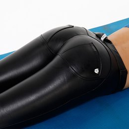 Low Yoga Pants Australia - AK's hand leather low waist long fleece lined yoga leather leggings women thick yoga pants best pants for your booty stock #169874