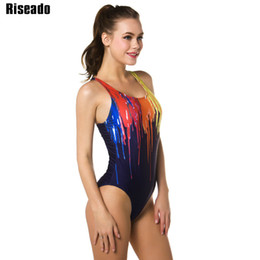 Women Back Painting Australia - Riseado One Piece Swimsuit 2019 Sport Swimming Suits for Women Paint Printing Swimwear Women Racer Back Bathing Suits