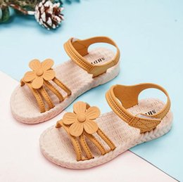 flower shoes kids NZ - Floral Summer PU Leather Children Sandals Toddler Girls Orthopedic Shoes Super Quality Kids Summer Shoes Fashion Soft Flowers