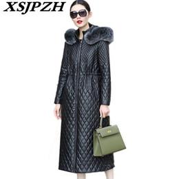 $enCountryForm.capitalKeyWord NZ - 2018 New Autumn Winter Women Genuine Leather Coat Hooded Fox Fur Collar Fashion Slim Thick Sheep Skin Long Leather Jacket LC353