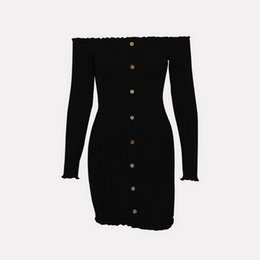 $enCountryForm.capitalKeyWord UK - Leisure Fashion Spring fashion explosive one-word collar, long sleeve, shoulder-exposed, solid-color pin-button dress hot selling Dresses